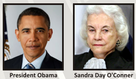 Barack Obama and Sandra Day O'Connor